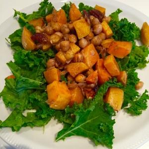 squash chick pea pecan salad